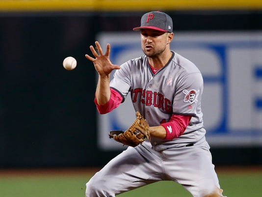 Pittsburgh Pirates' Jordy Mercer reaches out with his bare hand to grab a grounder hit by Arizona Diamondbacks' David Peralta during the fifth inning of a baseball game Sunday, May 14, 2017, in Phoenix. Pirates' Mercer made the throw in time to get Diamondbacks' Peralta out at first base. (AP Photo/Ross D. Franklin)