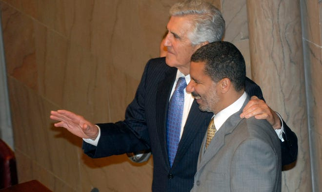 Senator Joseph Bruno, left, and Gov. David Paterson in the Senate Chamber after Senator Bruno announced he would not seek re-election during a press conference earlier in the day at the state Capitol in Albany, N.Y., Tuesday, June 24, 2008.
