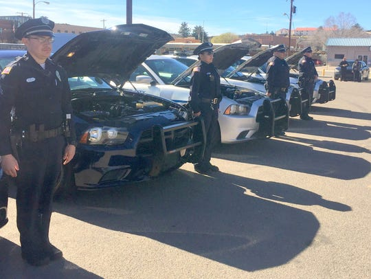 Silver City Police officers line up during inspection