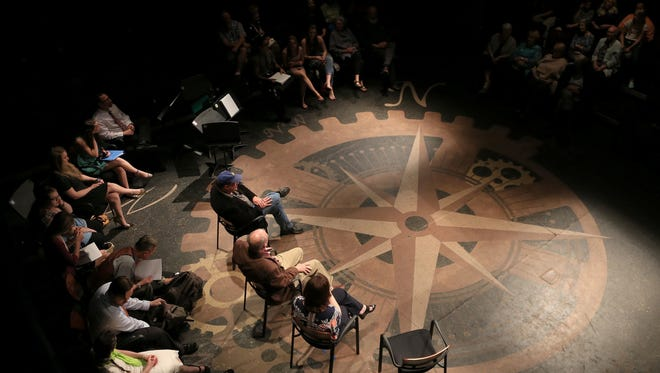 "The cast, creative team and audience participate in a talkback session Wednesday night following a reading of ""Miss Bonnie Belle"" at Dixie State University's Eccles Black Box Theater in St. George during the Second Act New Works Festival."