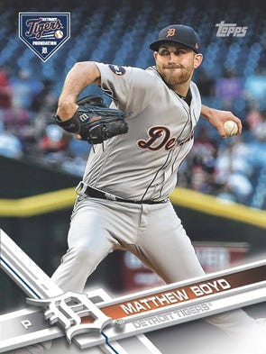 Custom Topps baseball card of Matt Boyd created for