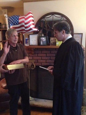 Victor Namchini, left, with acting New York State Supreme Court Justice Victor J. Alfieri Jr. Namchini, an Upper Nyack resident, requested that Alfieri, a longtime friend, commemorate his naturalization as a U.S. citizen.