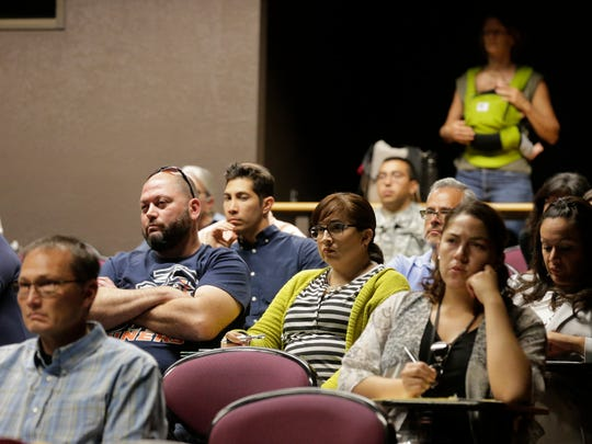 More than 100 people attend a town hall meeting moderated by Gary Edens, vice president of student affairs and chairman of the University of Texas at El Paso Campus Carry Task Force.