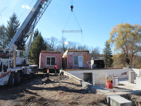 The home was lifted from its foundation is Staatsburg in two separate sections before being transported to the City of Poughkeepsie.