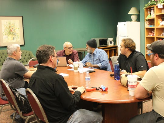 Administration and artistic staff for the Neil Simon Festival convene for a production meeting prior to the beginning of the Cedar City theater's 2017 season.