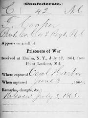 Pvt. Franklin Cooper, whose name is on a gravestone at Woodlawn National Cemetery, did not die at Elmira's Civil War prison camp but was released on July 3, 1865, according to this prison camp record posted online by Tom Fagart of Concord, N.C.