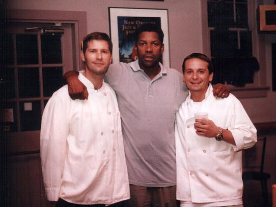 Wilmington's Jamie Campbell (left) with actor Denzel