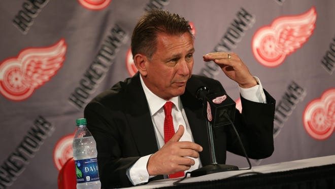 Red Wings general manager Ken Holland talks to reporters on Monday, April 25, 2016, at Joe Louis Arena in Detroit.
