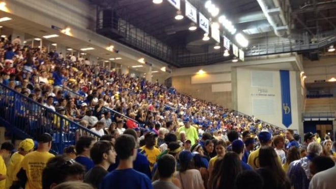 UD fans wait it out in the Bob on Saturday afternoon during the storm.
