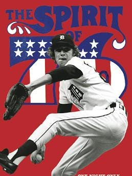 Poster for promotion of Tuesday viewing of 1976 Monday night baseball game