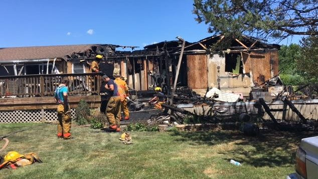 A fire displaced the Michael Spoerr family Monday at 8338 Olivesburg-Fitchville Road. Cause of the fire remains under investigation.