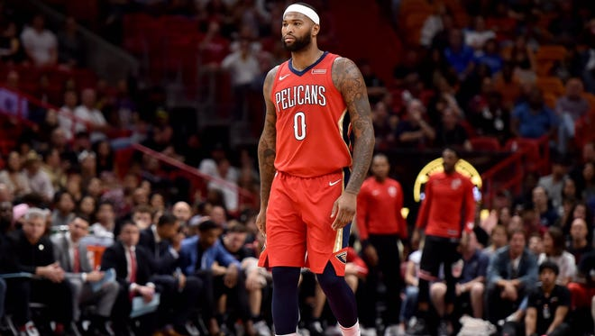 New Orleans Pelicans center DeMarcus Cousins (0) against the Miami Heat during the first half at American Airlines Arena.