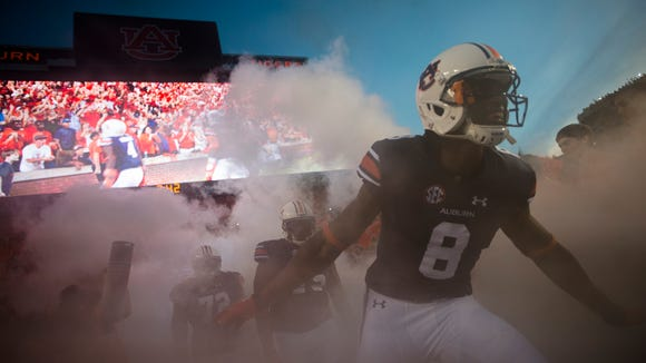 Auburn wide receiver Tony Stevens (8) enters the field before the NCAA football game between Auburn and Mississippi State on Saturday, Sept. 26, 2015, at Jordan-Hare Stadium in Auburn, Ala. 