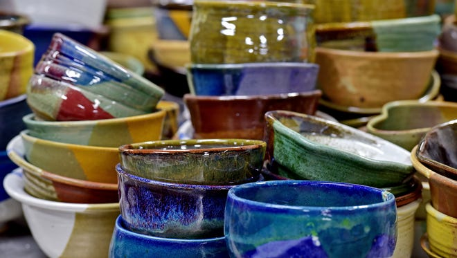 Handcrafted bowls created by local artists were on display before the Pick A Bowl Fill A Bowl fundraiser in 2015.