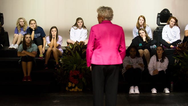 Lt. Gov. Kay Ivey speaks to the Distinguished Young Women at Frazer United Methodist Church on Friday, Jan. 15, 2016, as part of their week-long scholarship program in Montgomery, Ala. The Distinguished Young Women of Alabama program features 52 female high school seniors, one from each county in Alabama. As girls from each county compete, they are judged by a panel on five categories: scholastics, interview, fitness, self-expression and talent. Statewide, the girls are competing for $41,000 in cash scholarships and more than $2 million in college grants.