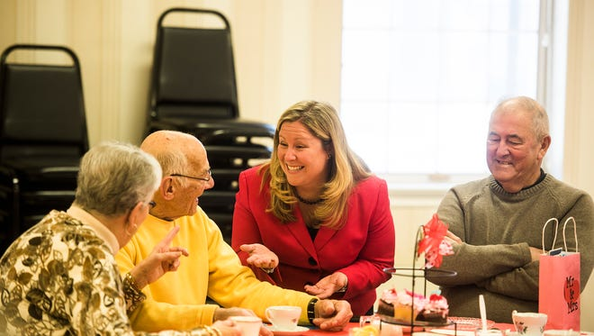 In this file photo from February 2016, Rep. Kate Klunk speaks with couple Jim and Dolores Zinneman during the Senior Sweetheart Tea event at the Hanover YWCA. The Zinnemans have been married for 65 years.