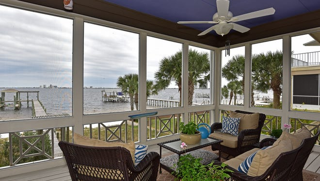 525 Deer Point Drive, sun room with a waterfront view.