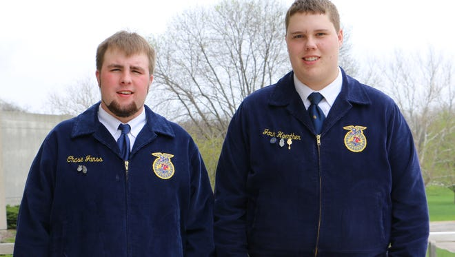 Benton's Chase Janss and Josh Haerther are state proficiency winners. They competed at the state FFA convention.