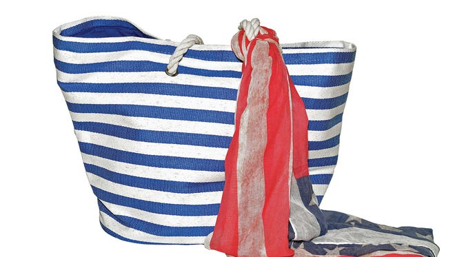 Striped beach bag, $28; scarf $20, at Lee Tracy.