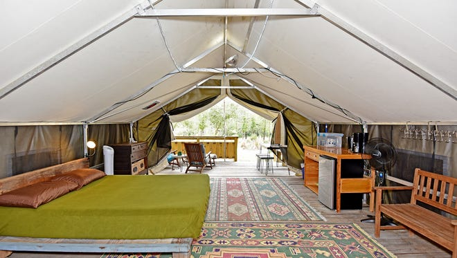 Glamping with a tempurpedic bed at Coldwater Gardens.