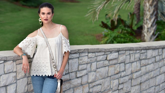 Model: Victoria Henley.This is the year of the Bohemian so be sure to channel your inner flower child this summer. Lace, fringe, soft jeans and big earrings: this outfit time travels to the '70s! The Isy & Ki top ($116) is perfect with these Ditto jeans ($89). Accessorize with a retro Bed Stu purse ($165), Sheila Fajil earrings ($88) and a wrap bracelet by Gemilli ($79).