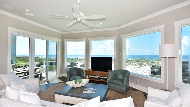 A 180-degree view is a hallmark of the living space.