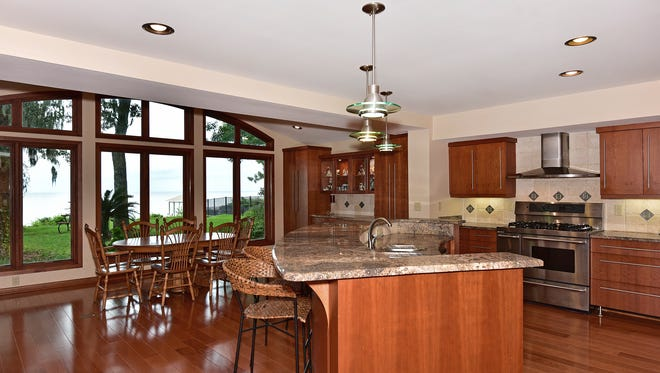 236 Northcliffe Drive, the remodeled kitchen includes a fabulous view.