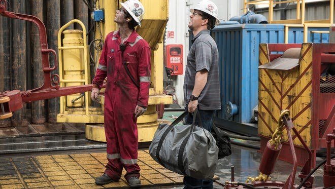 """Dylan O'Brien and Mark Wahlberg in """"Deepwater Horizon."""""""