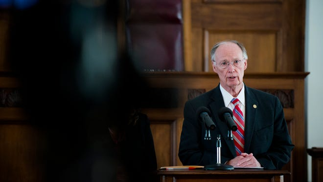 Governor Robert Bentley speaks about medicaid adjustments during a press conference on Thursday, Sept. 22, 2016, at the Alabama State Capitol building in Montgomery, Ala.