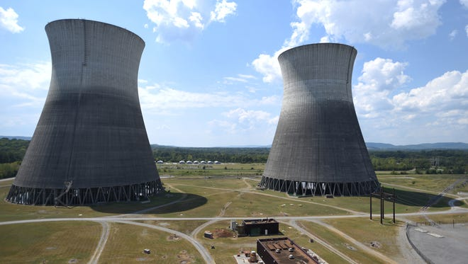 The cooling towers are visible from the roof Wednesday, Sept. 7, 2016 at Bellefonte Nuclear Power Plant in Hollywood, Ala.