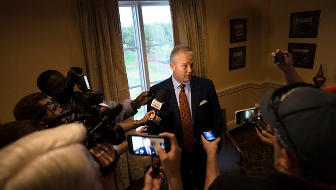 Jay Jacobs, Auburn Athletic director, speaks to members of the media on Tuesday, Nov. 1, 2016, before the Quarterback Club event in Montgomery, Ala.