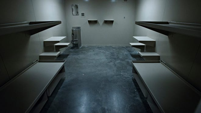 An empty jail cell inside the Montgomery County Jail in Montgomery, Ala., on Friday, Dec. 9, 2016.