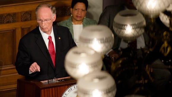 Alabama Governor Robert Bentley speaks during his State