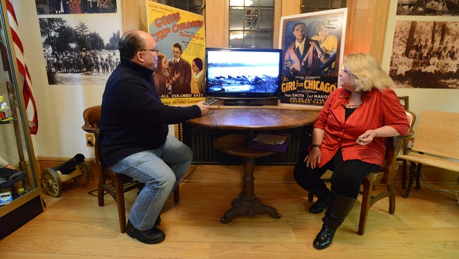 Fort Lee Film Commission Executive Director Tom Meyers and Fort Lee Historical Society President Donna Brennan join the event Tuesday night about filmmaker Oscar Micheaux.