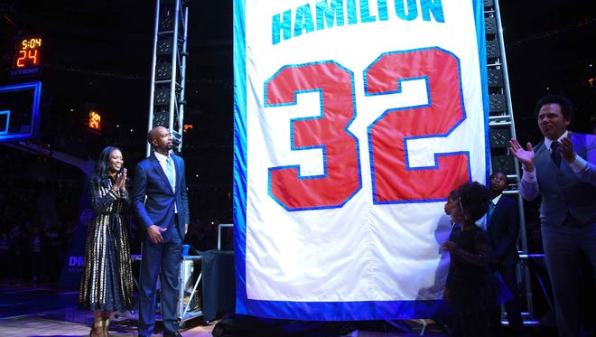 Former Pistons player Richard Hamilton's jersey is retired during halftime of Sunday's game against the Celtics at the Palace.