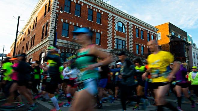 Runners start the Montgomery Half Marathon during the Montgomery Half Marathon and 5k race on Saturday, March 11, 2017, in Montgomery, Ala.