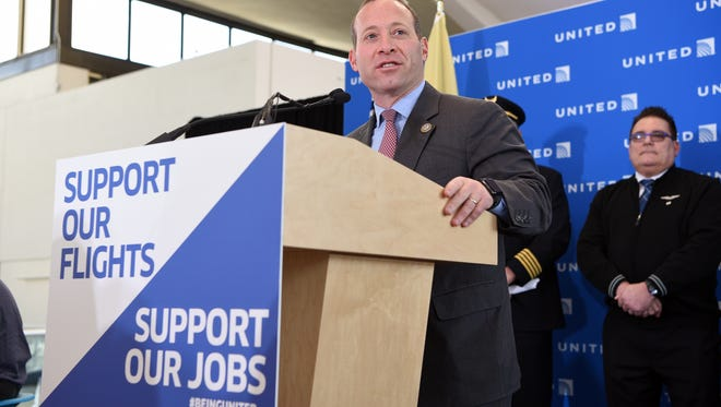 Rep. Josh Gottheimer, D-Wyckoff, at a press conference at Newark Liberty International Airport on March 12, 2017