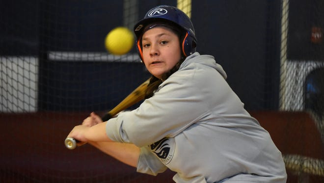 Regan Lynch is the only girl signed up to play baseball with the boys in Edgewater's major league division baseball program. The town does not have a softball program, though Lynch does play in another town. Lynch attends her first practice with her team on Sunday, March 19, 2017.