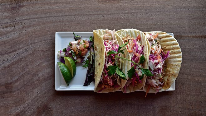 BBQ Smoked Chicken Tacos with House Made Slaw, courtesy of Chef's Billy Hanake and Dani Galindo at Lucy.