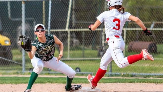 Howell records out at first base in Wednesday night's 15-0 victory over Canton