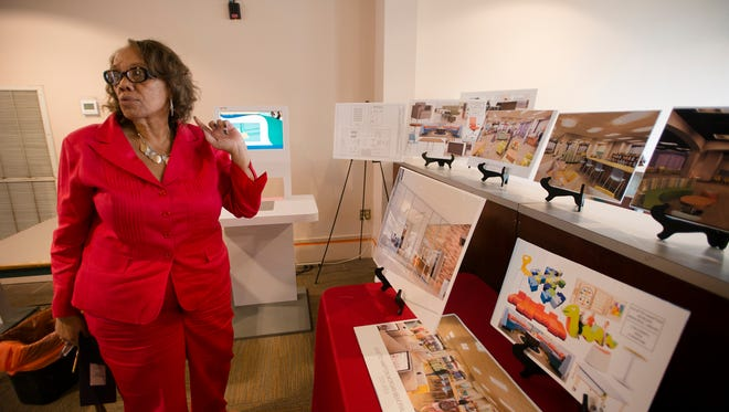 Jaunita Owes talks about renovation plans on Tuesday, June 6, 2017, at the Morgan Library in Montgomery, Ala.