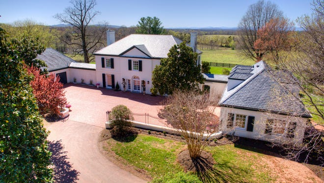 This April 8, 2017 photo provided by John Hancock Productions shows an aerial view of Rapidan Farm in Rapdian, Va. The plantation is on of there being sold by the family of West Virginia gov. Jim Justice.