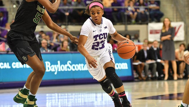 AJ Alix drives against a Baylor defender while still with TCU.