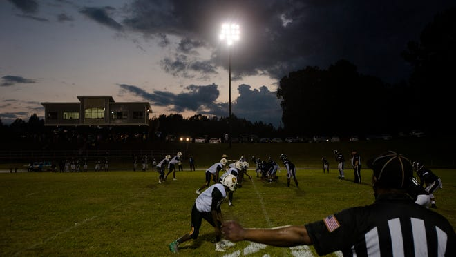 Central High School prepares to to snap against Calhoun during the football game on Friday, Sept. 15, 2017, at Calhoun High School in Lowndes County.