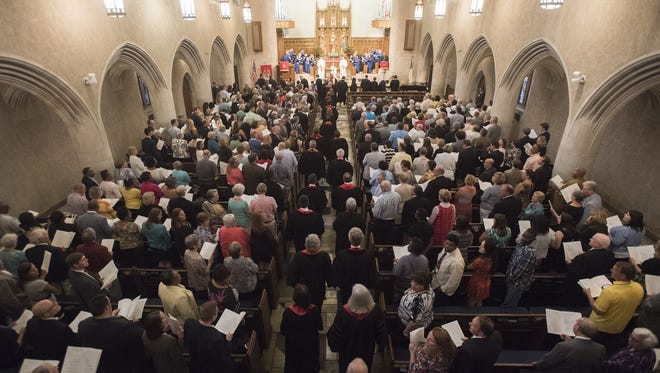 Clergy process in during the Ordination and Commissioning of Pastors  Ceremony at First United Methodist Church in Montgomery on Monday, June 1, 2015.