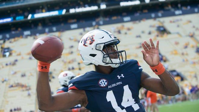 Auburn quarterback Malik Willis (14) throws a passbefore the NCAA football game between Auburn and LSU on Saturday, Oct. 14, 2017, at Tiger Stadium in Baton Rouge, La.