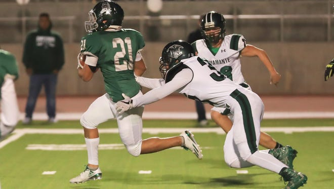Dinuba hosts El Diamante in a Central Section Division II Semifinal high school football game at Claud Hebert Field on Nov 17, 2017.