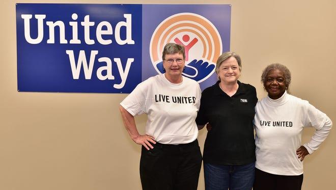 United Way volunteers Diane Del Regato, Esther Pearson and Barbara Sawyer.