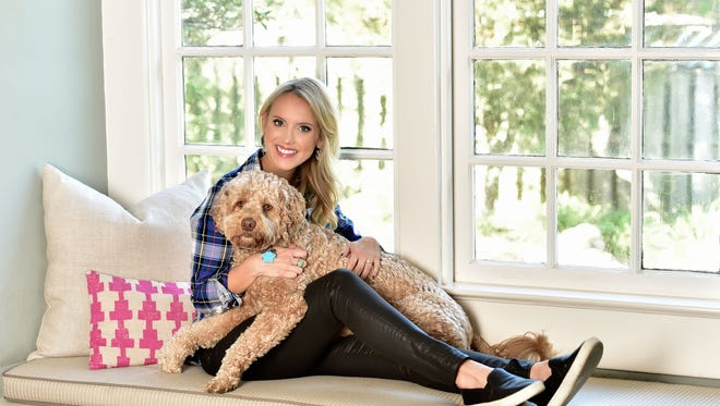 Personal Style of Leslie Appleyard and her dog, Everett.J.Crew shirt; Zara leather jeans; Vince sneakers.