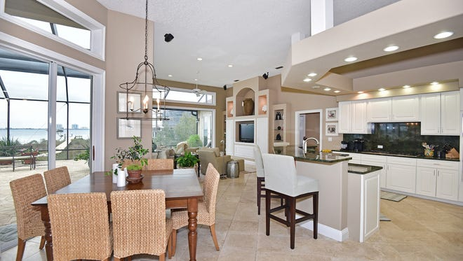 1327 Soundview Trail, the open kitchen and family room area.
